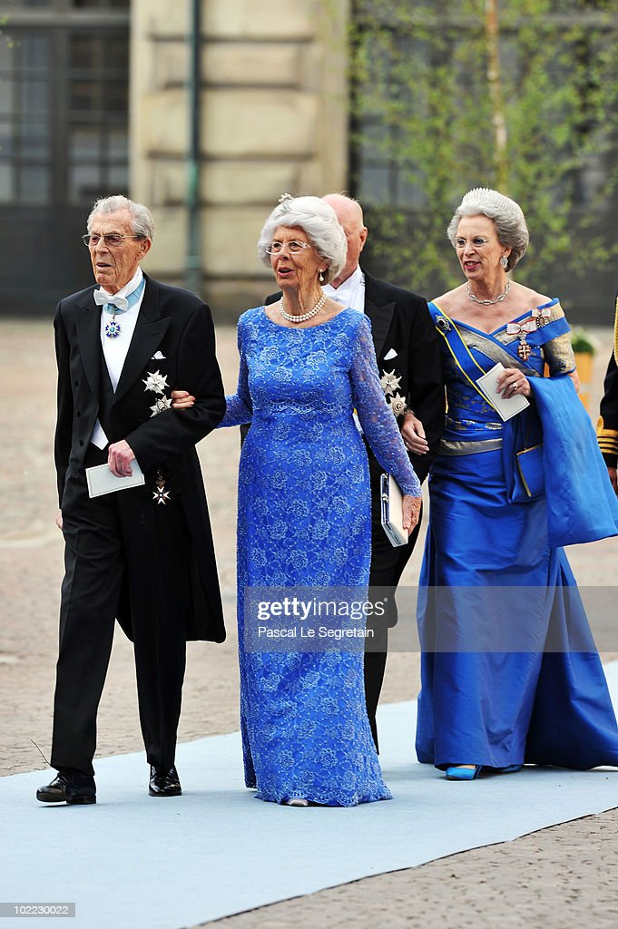 Count Carl-Johan Bernadotte af Wisborg and Countess Gunnila Bernadotte af Wisborg, Princess Benedikte and Prince Richard zu Sayn-Wittgenstein-Berleburg attend the wedding of Crown Princess Victoria of Sweden and Daniel Westling on June 19, 2010 in Stockholm, Sweden.