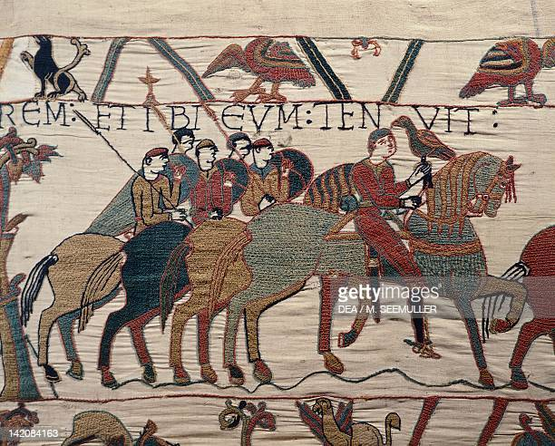 Count Guy de Ponthieu and his Escorts detail of Queen Mathilda's Tapestry or Bayeux Tapestry depicting Norman conquest of England in 1066 France 11th...