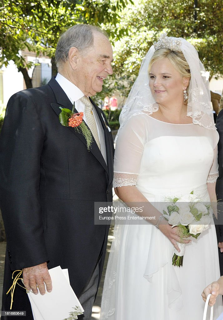 Count Rudi, Rudolf zu Schoenburg-Glauchau and his daughter Sophie Von Schonburg attend her wedding with Carlos Andreu on September 21, 2013 in Madrid, Spain.