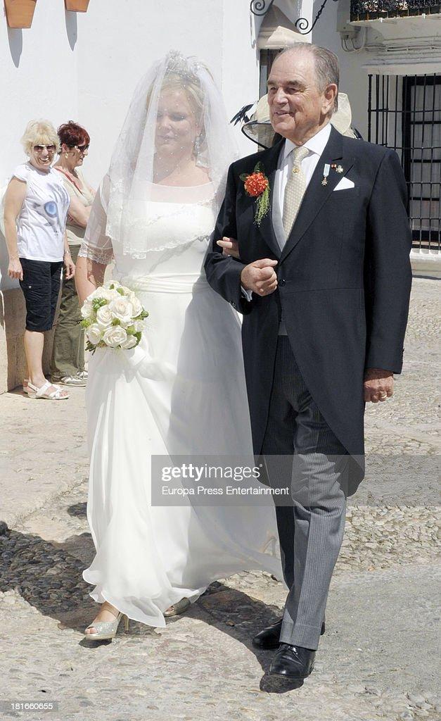 Count Rudi, Rudolf zu Schoenburg-Glauchau and his daughter Sophie Von Schonburg attend her wedding with Carlos Andreu on September 21, 2013 in Madrid, Spain.