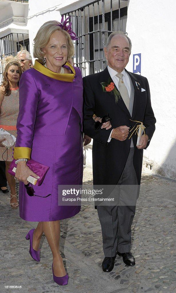 Count Rudi, Rudolf zu Schoenburg-Glauchau and Princess Marie Louise von Preussen attend the wedding of their daughter Sophie Von Schonburg and Carlos Andreu on September 21, 2013 in Ronda, Spain.