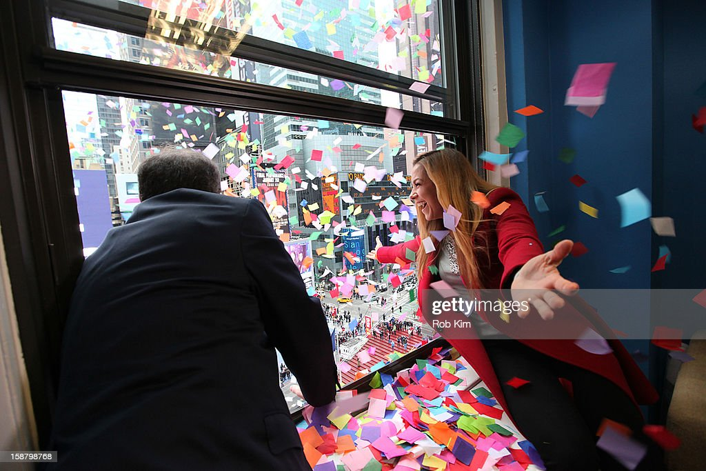 Countdown Entertainment President Jeffrey Straus (L) and 2013 Times Square New Year's Eve Host Allison Hagendorf attend the New Year's Eve 2013 Confetti Airworthiness Test at Times Square Alliance Building on December 29, 2012 in New York City.