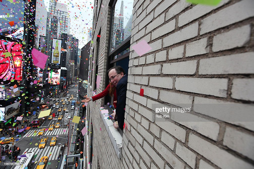 Countdown Entertainment President Jeffrey Straus looks on at the New Year's Eve 2013 Confetti Airworthiness Test at Times Square Alliance Building on December 29, 2012 in New York City.