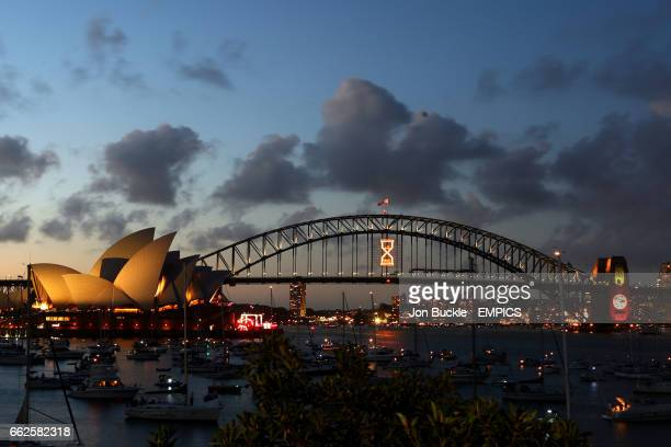 Countdown to New Years Eve begins as the crowd wait for the fireworks over the Sydney Opera House and Sydney Harbour Bridge