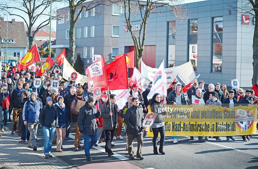 Counter demonstrators walk down the street prior to a Pro-NRW rally on March 18, 2013 in Bielefeld, Germany. Later a protester hit Joerg Ueckermann, Deputy Chairman of the anti-Islam Pro-NRW group, in the face with an egg while Ueckermann was speaking. Nine Pro-NRW members held the rally and were booed down by 700 counter-demonstrators. Pro-NRW, based primarily in western Germany and Berlin, has sought a strongly anti-Islam agenda and demonstrates frequently against the construction of mosques in Germany. Police recently arrested several radical Salafite Islam members in Germany who were planning to assassinate Pro-NRW leader Markus Beisicht.