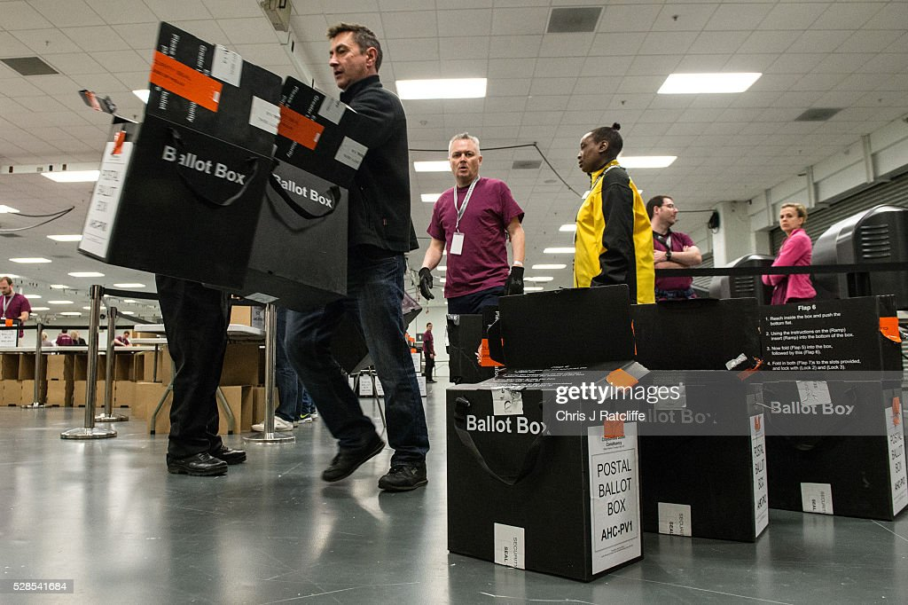 A counter dumps empty ballot boxes during the London Mayoral and Assembly election count at Kensington Olympia on May 6, 2016 in London, England. This is the fifth mayoral election since the position was created in 2000. Previous London Mayors are Ken Livingstone for Labour and more recently Boris Johnson for the Conservatives. The main candidates for 2016 are Sadiq Khan, Labour, Zac Goldsmith, Conservative, Sian Berry, Green, Caroline Pidgeon, Liberal Democrat, George Galloway, Respect, Peter Whittle, UKIP and Sophie Walker, Wonmen's Equality Party.