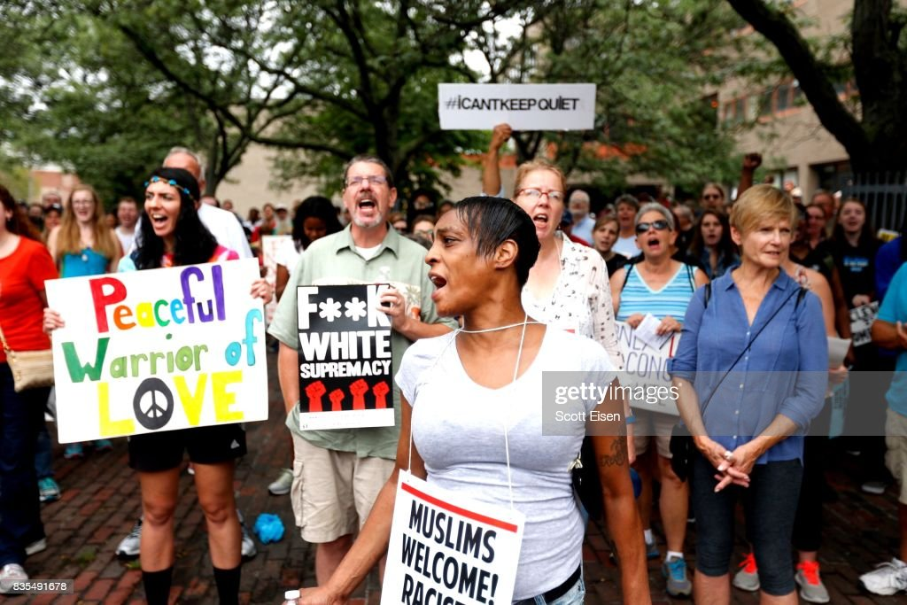 Counter protesters gather in Roxbury before marching to a planned 'Free Speech Rally' on Boston Common on August 19, 2017 in Boston, Massachusetts. Thousands of demonstrators and counter-protestors are expected at Boston Common where the Boston Free Speech Rally is being held.