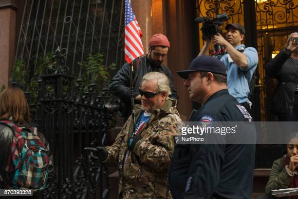Counter protesters white supremacists and proTrump and the NYPD march alongside one another in New York US on Saturday Nov 4 2017