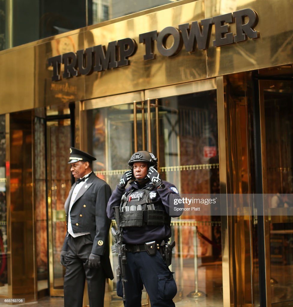 A counter terrorism officer stands in front of Trump Tower in Manhattan on March 20, 2017 in New York City. Senate Minority Leader Chuck Schumer has been voicing criticism of President Donald Trump's proposed budget that could cut as much as $190 million from New York City efforts to fight terrorism. Following two major terrorist attacks and numerous foiled plots, New York City is considered the nation's prime target for terrorists. The NYPD has stated that it costs $500,000 a day to pay for the nearly 200 police officers in and around Trump Tower on Fifth Ave.
