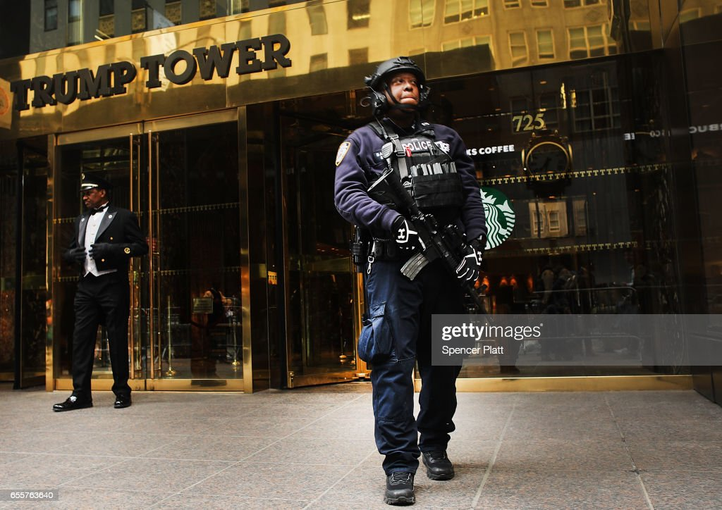 Counter terrorism officers stand in front of Trump Tower in Manhattan on March 20, 2017 in New York City. Senate Minority Leader Chuck Schumer has been voicing criticism of President Donald Trump's proposed budget that could cut as much as $190 million from New York City efforts to fight terrorism. Following two major terrorist attacks and numerous foiled plots, New York City is considered the nation's prime target for terrorists. The NYPD has stated that it costs $500,000 a day to pay for the nearly 200 police officers in and around Trump Tower on Fifth Ave.