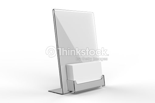 Counter Top Acrylic Sign Display With Calling Or Business Card Tray