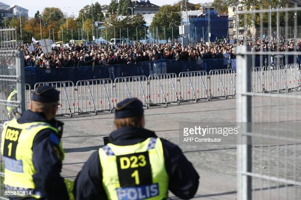 Counterdemonstrators are pictured prior to the farright Nordic Resistance Movement march in Gothenburg Sweden on September 30 2017 News Agency /...