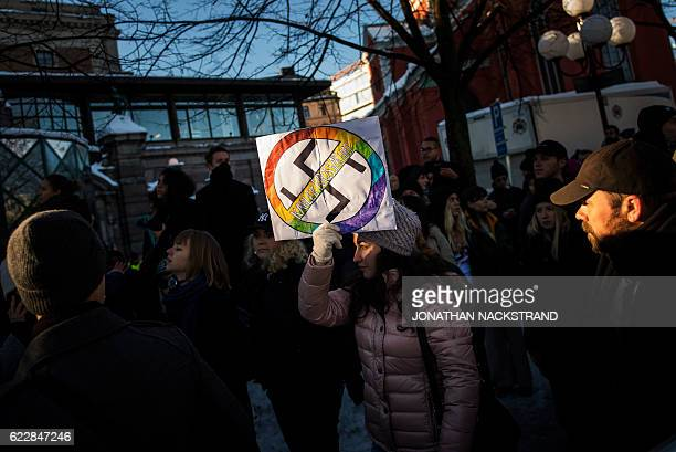 Counterprotesters demonstrate against the neonazi Nordic Resistance Movement that held a protest rally in central Stockholm on November 12 2016...