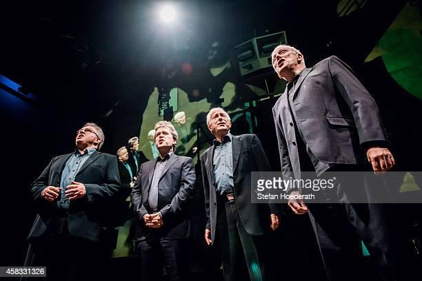 Countertenor David James tenor Steven Harrold tenor Rogers CoveyCrump and baritone Gordon Jones of British male vocal quartet The Hilliard ensemble...