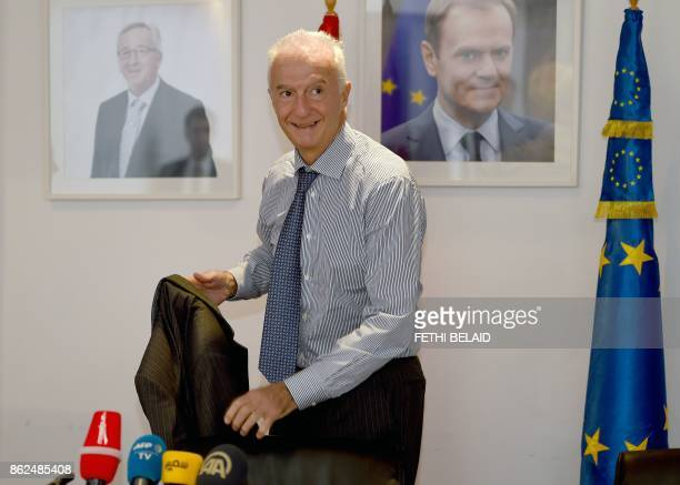EU counterterrorism coordinator Gilles de Kerchove arrives for a press conference in the Tunisian capital Tunis on October 17 2017 after meeting with...