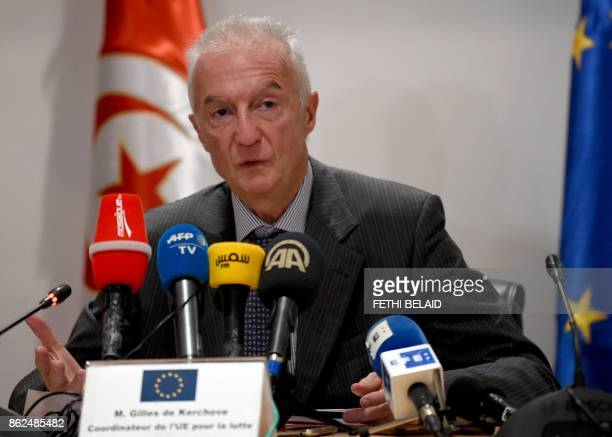 EU counterterrorism coordinator Gilles de Kerchove speaks at a press conference in the Tunisian capital Tunis on October 17 2017 after meeting with...