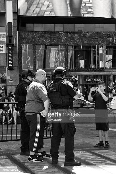 NYPD Counter-Terrorism Officers Posing With Tourists, Times Square, Manhattan, NYC