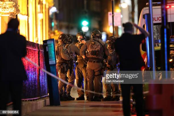 Counterterrorism special forces are seen at London Bridge on June 3 2017 in London England Police have responded to reports of a van hitting...
