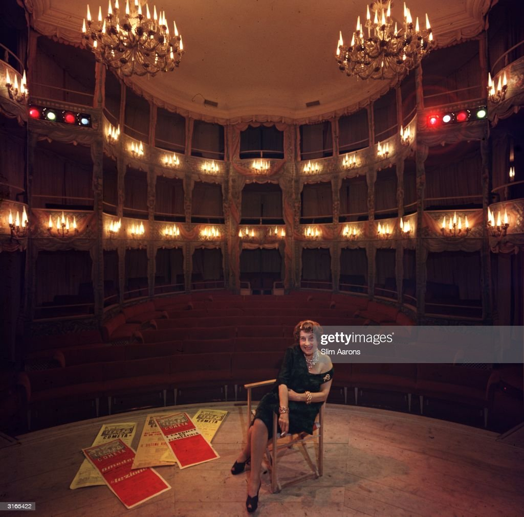 Countess Anna Laetitia PecciBlunt sits on the stage of her own private theatre in Rome