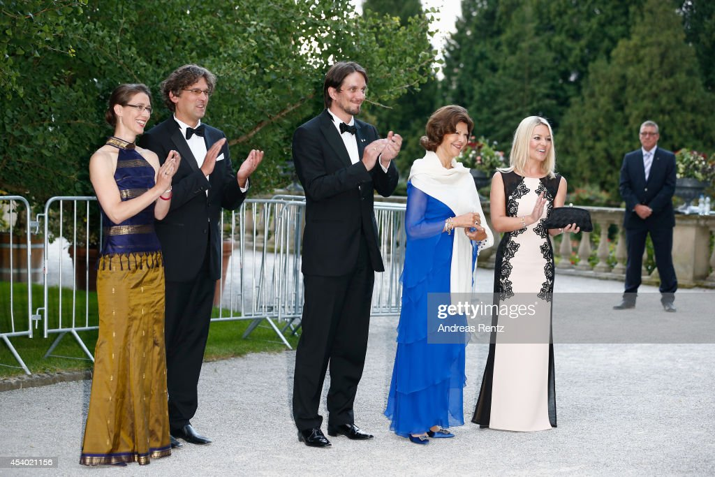 Countess Bettina Bernadotte, Philipp Haug, Count Bjoern Bernadotte, HRH Queen Silvia of Sweden and Countess Sandra Bernadotte attend the 5th Lindau meeting on Economic Scienes an event in connection with the 15th anniversary of World Childhood Foundation at Island Mainau on August 23, 2014 in Konstanz, Germany.
