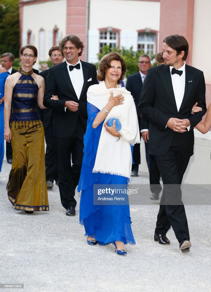 Countess Bettina Bernadotte, Philipp Haug, HRH Queen Silvia of Sweden and Count Bjoern Bernadotte attend the 5th Lindau meeting on Economic Scienes an event in connection with the 15th anniversary of World Childhood Foundation at Island Mainau on August 23, 2014 in Konstanz, Germany.