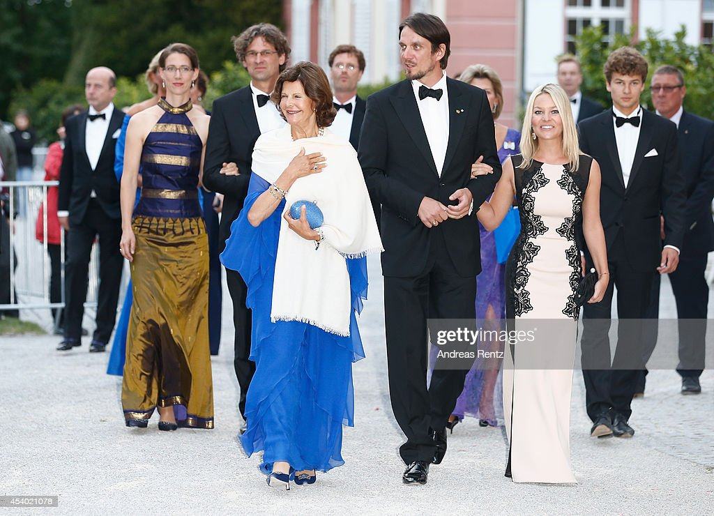 Countess Bettina Bernadotte, Philipp Haug, HRH Queen Silvia of Sweden, Count Bjoern Bernadotte and Countess Sandra Bernadotte attend the 5th Lindau meeting on Economic Scienes an event in connection with the 15th anniversary of World Childhood Foundation at Island Mainau on August 23, 2014 in Konstanz, Germany.