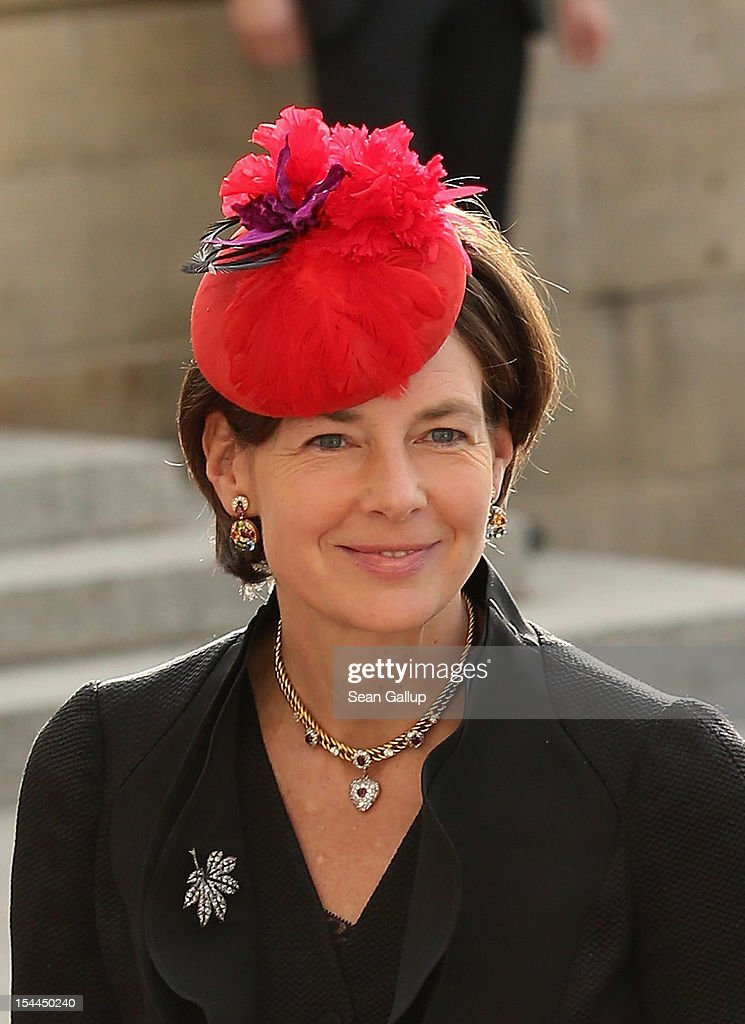 Countess Diane of Nassau emerge from the Cathedral following the wedding ceremony of Prince Guillaume Of Luxembourg and Princess Stephanie of Luxembourg at the Cathedral of our Lady of Luxembourg on October 20, 2012 in Luxembourg, Luxembourg. The 30-year-old hereditary Grand Duke of Luxembourg is the last hereditary Prince in Europe to get married, marrying his 28-year old Belgian Countess bride in a lavish 2-day ceremony.