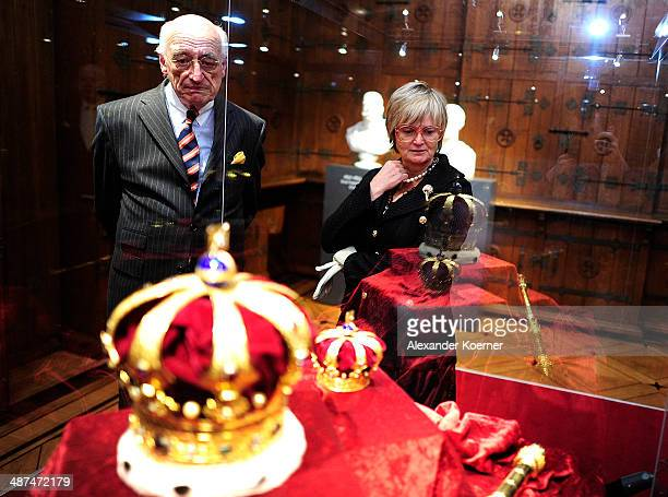 Countess Gloria von Thurn und Taxis stands in front of the Royal Crown of Hanover during the official opening of the 'Der Weg zur Krone Das...