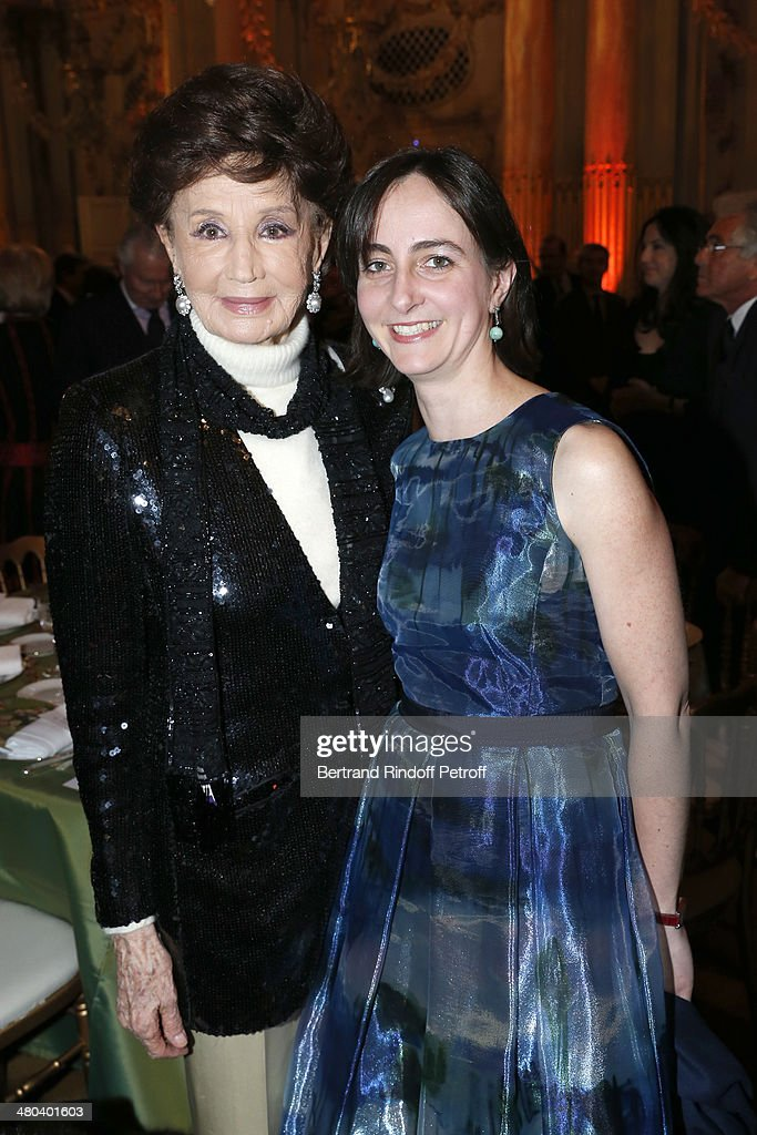 Countess Jacqueline de Ribes (L) and her granddaughter Countess Alix de Larochefoucauld attend the dinner party of the Societe Des Amis Du Musee D'Orsay (The Friends of Orsay Museum Society) at Musee d'Orsay on March 24, 2014 in Paris, France.
