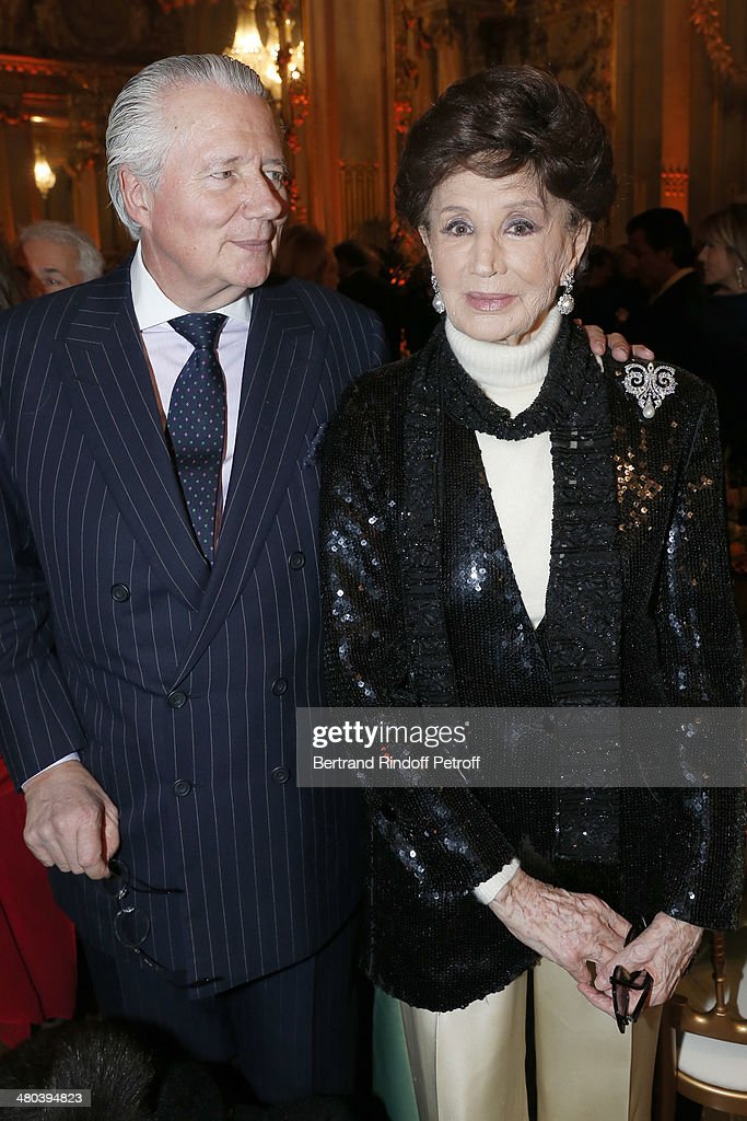 Countess Jacqueline de Ribes (R) and her son Count Jean de Ribes attend the dinner party of the Societe Des Amis Du Musee D'Orsay (The Friends of Orsay Museum Society) at Musee d'Orsay on March 24, 2014 in Paris, France.