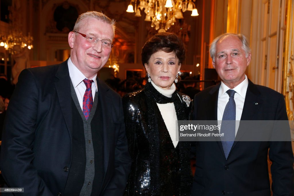 Countess Jacqueline de Ribes (C), President of Musee d'Orsay, Guy Cogeval (L) and President of the Friends of Orsay Museum Society, Jean-Louis Milin, attend the dinner party of the Societe Des Amis Du Musee D'Orsay (The Friends of Orsay Museum Society) at Musee d'Orsay on March 24, 2014 in Paris, France.