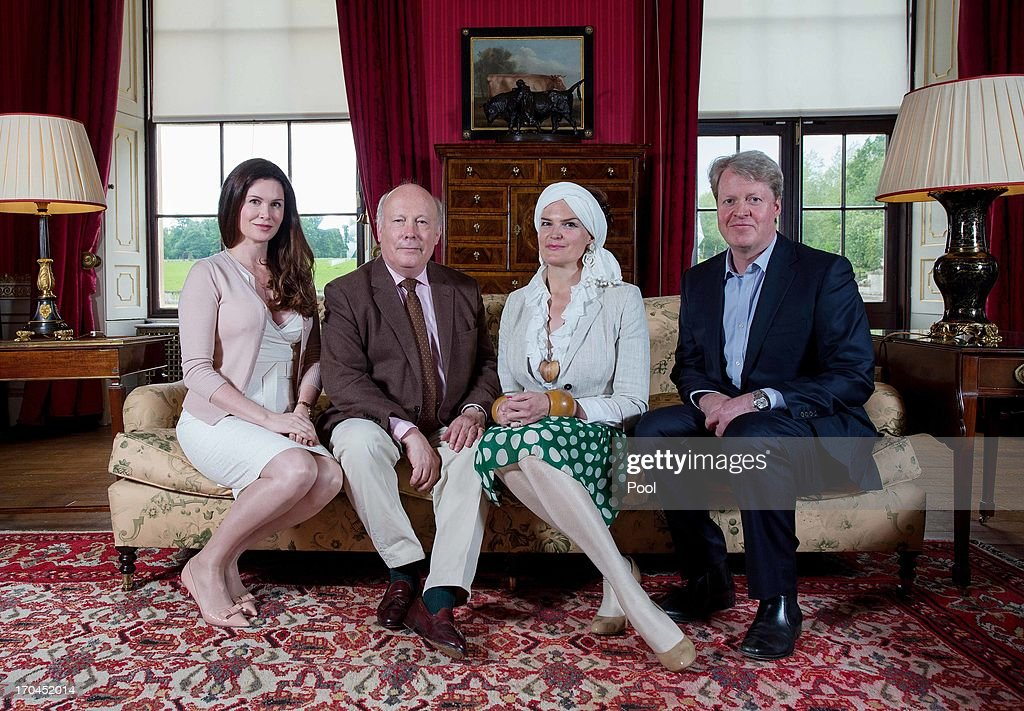 Countess Karen Spencer, <a gi-track='captionPersonalityLinkClicked' href=/galleries/search?phrase=Julian+Fellowes&family=editorial&specificpeople=224703 ng-click='$event.stopPropagation()'>Julian Fellowes</a>, Emma Joy Kitchener and Earl Charles Spencer pose on the opening day of the Althorp Literary Festival on June 13, 2013 in Althorp, United Kingdom.