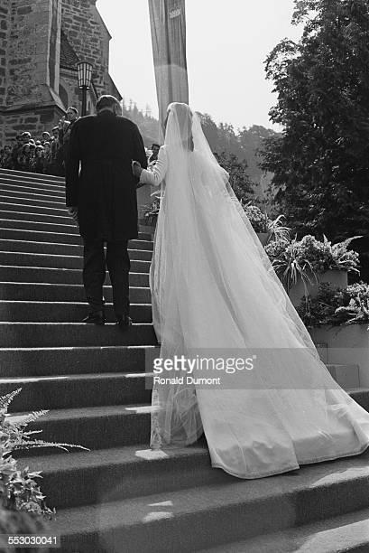 Countess Marie Aglaë Kinsky of Wchinitz and Tettau marries HansAdam II Prince of Liechtenstein at Vaduz Cathedral Liechtenstein 30th July 1967