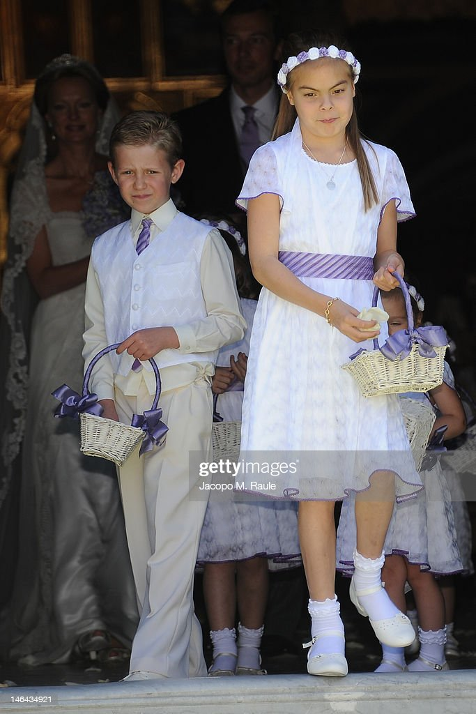 Countess of Orange Eloise throws flowers at the Princess Carolina Church Wedding With Mr Albert Brenninkmeijer at Basilica di San Miniato al Monte on June 16, 2012 in Florence, Italy.