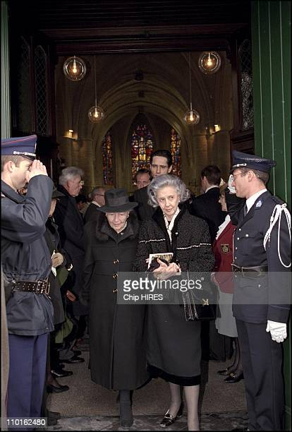 Countess of Paris and Queen Fabiola at the funeral of Count Evrard de Limburg Stirum in Huldenberg Belgium on March 10 2001