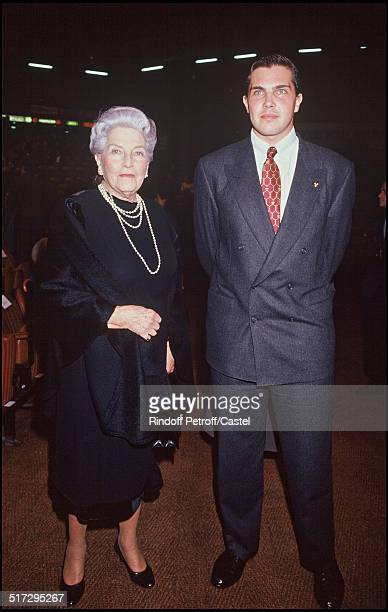 Countess of Paris Isabelle of Orleans and grandson Charles Philippe Premiere of the play 'Marie Antoinette'
