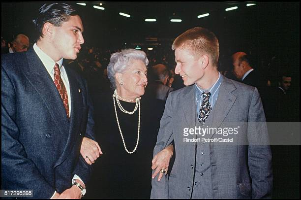 Countess of Paris Isabelle of Orleans and grandsons Charles Philippe and Foulques Premiere of the play 'Marie Antoinette'