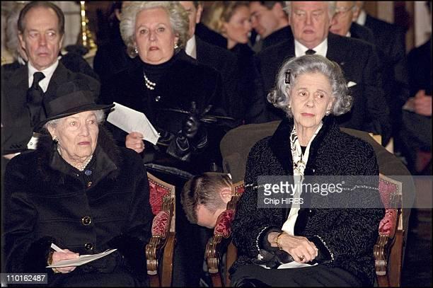 Countess of Paris Queen Fabiola Count of Paris Pilar of Spain at the funeral of Count Evrard de Limburg Stirum in Huldenberg Belgium on March 10 2001