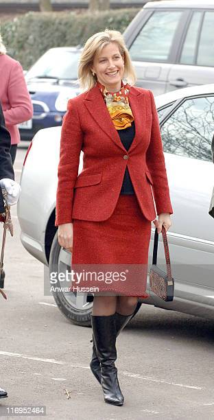 HRH Countess of Wessex during a visit to Kings Stanley Junior School January 25 in Stroud Gloucestershire
