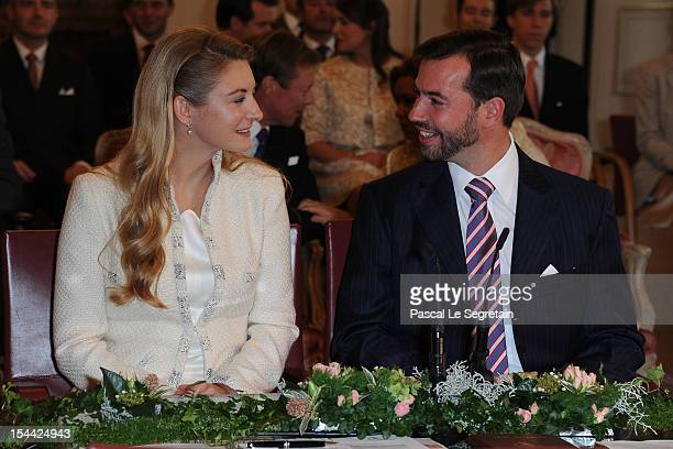 Countess Stephanie de Lannoy and Crown Prince Guillaume of Luxembourg are seated prior to the civil ceremony for the wedding of Prince Guillaume of...