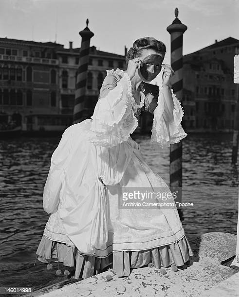 Countess Teresa Foscari Foscolo at a masked costume ball at the Palazzo Labia Venice 3rd September 1951 Named 'Le Bal Oriental' and described in the...
