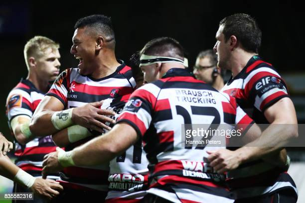 Counties Manukau celebrate after winning the round one Mitre 10 Cup match between Counties Manukau and Auckland at ECOLight Stadium on August 19 2017...