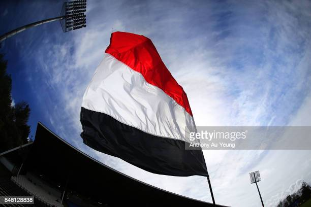 Counties Manukau flag is seen during the round five Mitre 10 Cup match between Counties Manukau and Hawke's Bay at ECOLight Stadium on September 17...