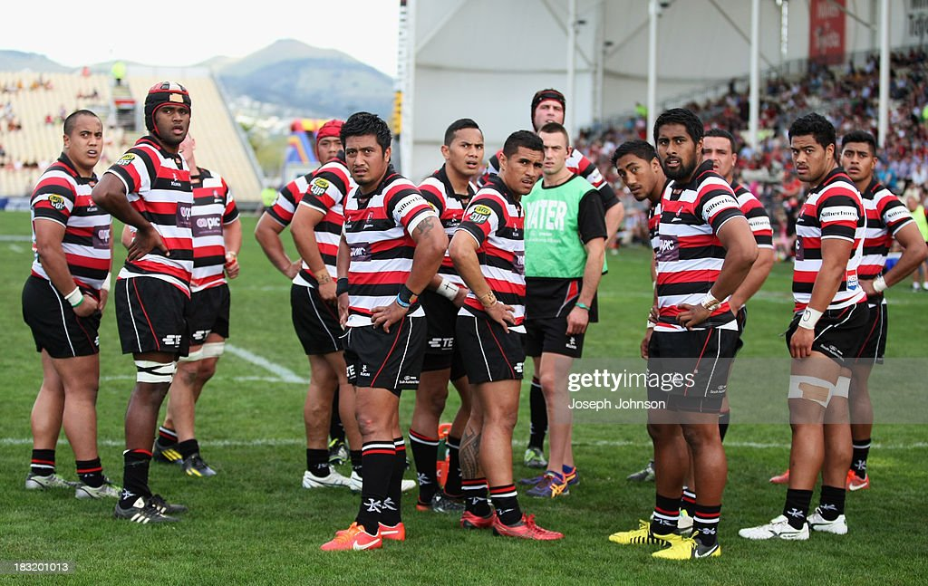 Counties Manukau team gathered after another try by Canterbury during the round eight ITM Cup match between Cantebury and Counties Manukau at AMI Stadium on October 6, 2013 in Christchurch, New Zealand.
