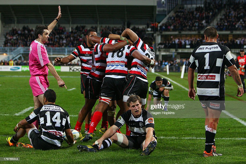 Counties players celebrate the winning try of Sikeli Nabou of Counties Manukau during the round four ITM Cup Ranfurly Shield match between Hawke's...