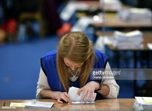 Counting continues at the Belfast count taking place at the Titanic exhibition centre on June 9 2017 in Belfast Northern Ireland After a snap...