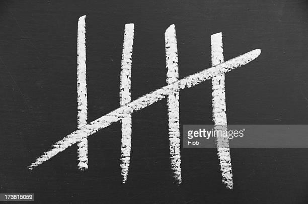 Counting lines written in chalk on blackboard