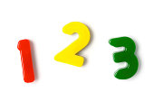 """""""Toy magnetic numbers one, two and three isolated on white. More related images in"""""""
