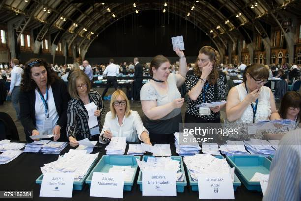 Counting takes place of the votes cast in the Manchester Mayoral election at the Central Convention Centre in Manchester northern England on May 5...