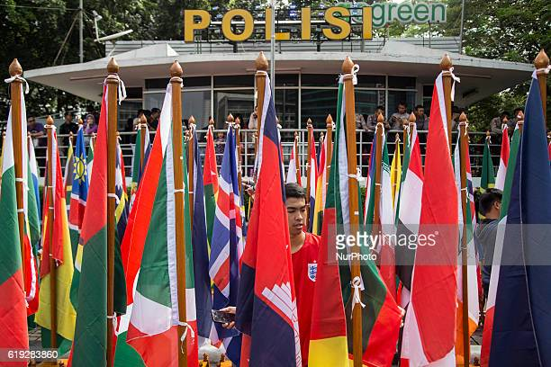 Countries flags displayed infont of Indonesian police that will attend the Interpol general assesment at Bali on October 30 2016 Indonesian Police...